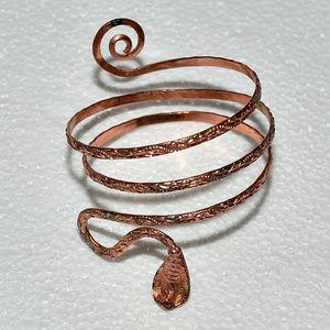 vintage solid copper cobra snake cuff bracelet
